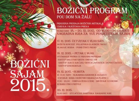 Božićni sajam u POU Dom na žalu od 17. do 20. prosinca