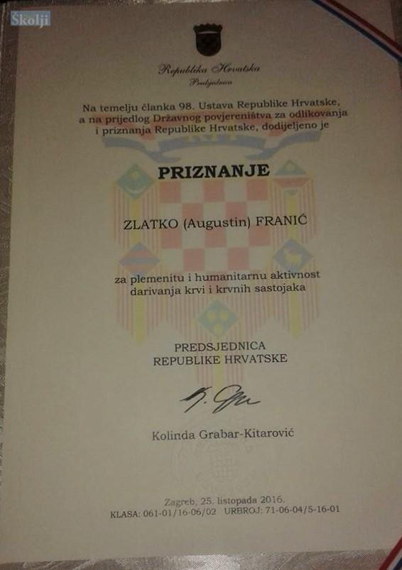 Lukorancu Zlatku Franiću najviše državno odličje za darivatelje krvi