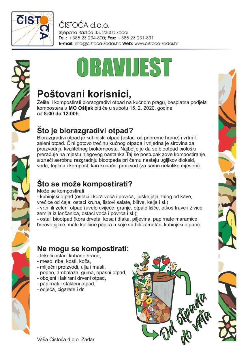Besplatna podjela kompostera u MO Ošljak